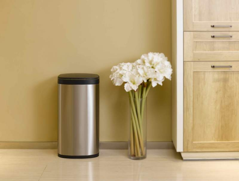 Stainless motion sensor trash can