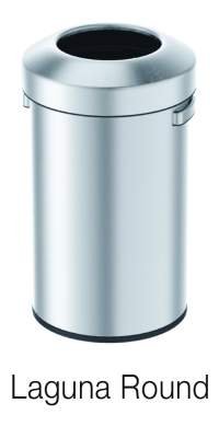 Round open top designer trash can
